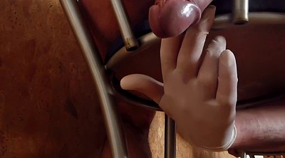 Gloves, Glove, Gloves handjob, Flashing, Chair, Hard