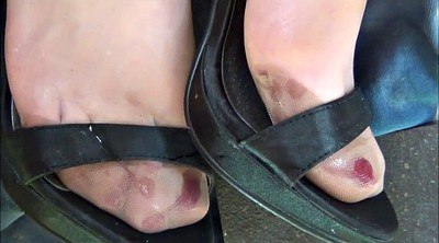 Nylon, Satin, Nylon feet, Shoe, Cum shoe, Nylon foot