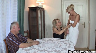 Tricked, Trick, Teenie, Mature threesome, Blonde mature