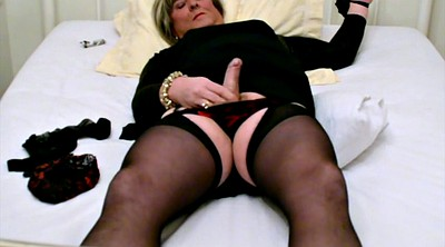Stocking, Bondage cum, Black stockings, Self