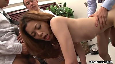 Gangbang, Japanese office, Yui, Japanese hairy, Hairy creampie