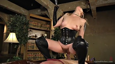 Brutal, Mistress handjob, Mature slave, Leather mistress, Leather boots, Hairy mature