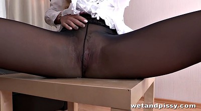 Leather, Long legs, Sofa, Leather solo, Solo blond, Pissing solo