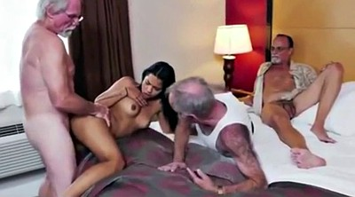 Granny threesome, Old woman, Old young threesome