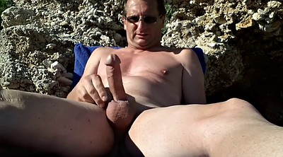 Gay beach, Masturbation couple, Jerking off, Hard gay