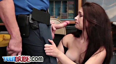 Police, Big, Swallow, Teen swallow, Teen cum