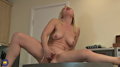 Masturbating, Granny masturbation, Amateur kitchen
