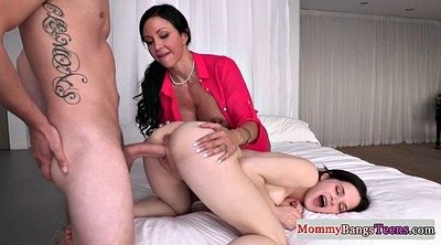 Busty mom, Teen with big tits, Mom facial, Cougar threesome