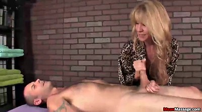 Mature handjob, Happy