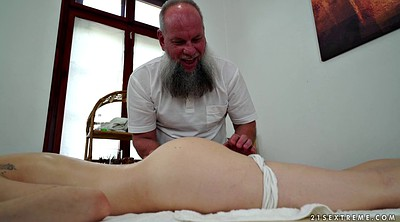 Massage table, Young skinny, Old grandpa
