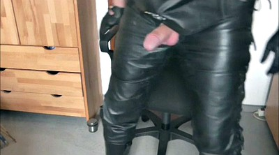 Leather, German handjob