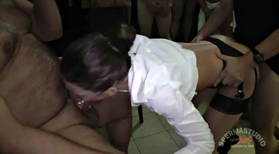 Julie, Office sex, Creampie gangbang