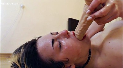 Couple, Spit, Deep dildo, Spitting