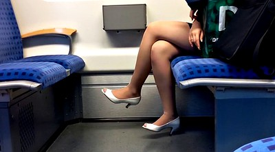 Foot, Peep, Train, Nylon foot, Leggings, Peeping