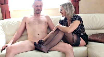 Stockings, Foot job, Ebony stockings