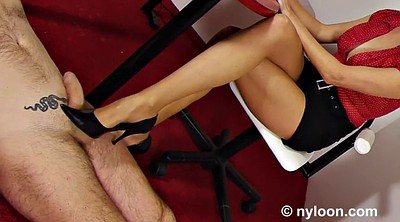 Footjob, Secretary, Nylon footjob, Office secretary, Nylon feet, Footjob pantyhose