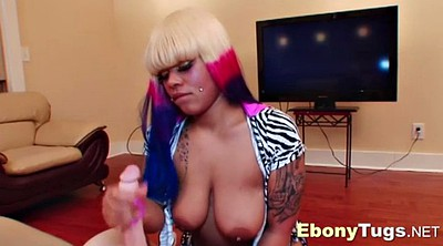 Girl massage, Ebony handjob