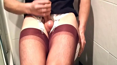 Nylon, Amateur gay, Nylon handjob, Gay cum