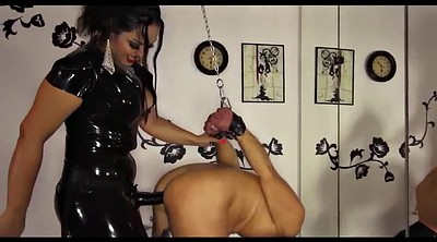 Bound, Black slave, Strapon femdom, Latex strapon, Ebony slave