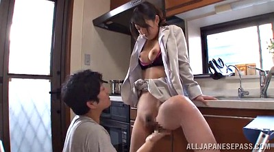 Kitchen, Asian pantyhose, Asian pussy, Hairy panty