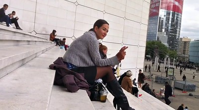 Upskirt, Pantyhose voyeur, Black woman, Ebony woman, Stairs, Pantyhose upskirt