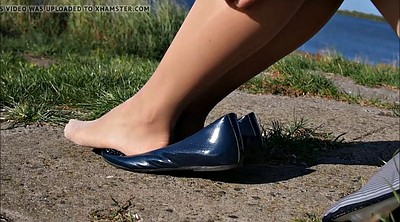 Feet, Pantyhose foot, Pantyhose outdoor, Pantyhose feet fetish