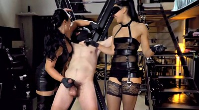 Latex, Latex handjob, Bdsm slave, Bondage slave, Two, Locked
