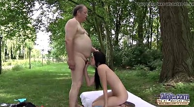 Romantic, Romantic sex, Old man, Fat man, Outdoors, Fat granny