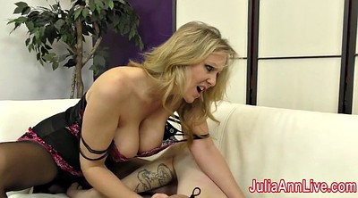 Footjob, Femdom footjob, Anne, Stocking, Julia ann, Foot slave