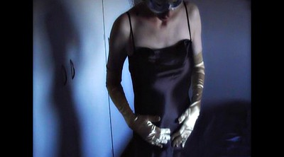 Cosplay, Satin, Glove, Nylon gloves, Satin panties, Nylons milf