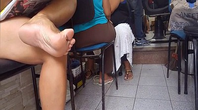 Foot fetish, Candid, Milf feet, Black milf