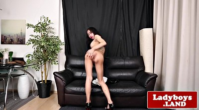 Ladyboy, Latex, Busty, Asian ladyboy, Shemale cum, Asian big
