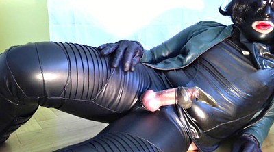Cum on face, Leather, Latex masturbation, Handjob cum