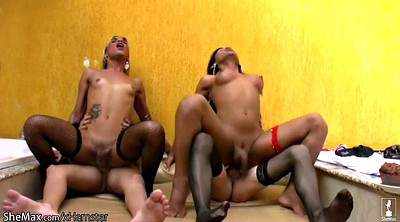 Shemale, Foursome, Shemale riding