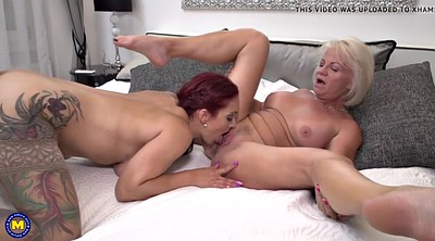 Sharing, Old mom, Old and young lesbian, Lesbians mature young