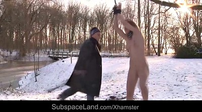Spanks, Outdoors bondage, Young tits, Snow