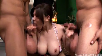 Busty, Asian double penetration