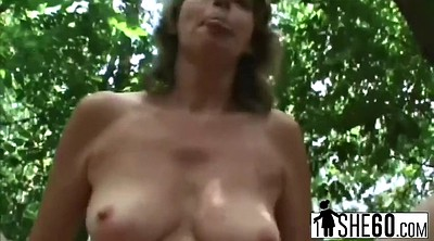 Forest, Outdoor granny, Finger pussy