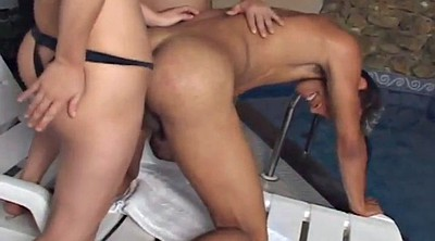 Threesome shemale, Bareback, Threesome creampie, Outdoor creampie
