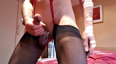 Crossdresser, Crossdressers, Crossdress, Crossdressing, Nylon handjob