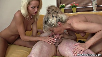Family, Blonde, Young girls, Young family, Mature threesome