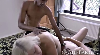 Chubby threesome, Mature chubby, Granny interracial
