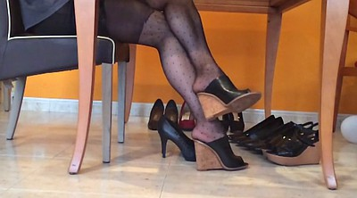 Nylon, Heels, Nylon foot, Pantyhose foot, Black foot, Pantyhoses