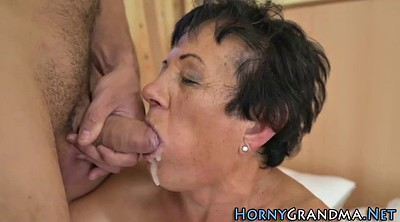 Blowjob, Granny blowjob, Mature facials