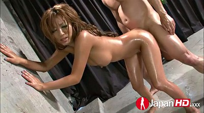 Japanese oil, Japanese double penetration, Hairy threesome, Double creampie, Huge cum, Japanese hairy