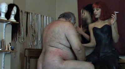 Bbw granny, Fat granny, Two man, Sitting, Fat man, Dominatrix