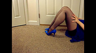 Blue, Blue stock, Legs, Stockings foot, Stocking foot, Amateur stocking