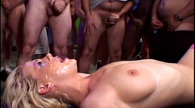 Bukkake, Hardcore, Crowd, Crowded, Close ups, Blonde gangbang