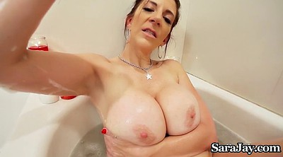 Sara jay, Huge tits, Wax, Waxing, Shower masturbation