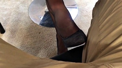 Pantyhose, Pantyhose footjob, Office foot